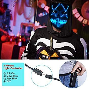 Ansee Scary Mask Halloween Cosplay Led Costume Mask El Wire Light Up M