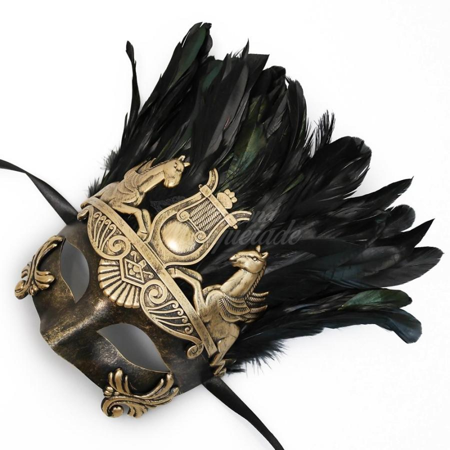 Mens Roman ゴールド Masquerade Mask with Feathers