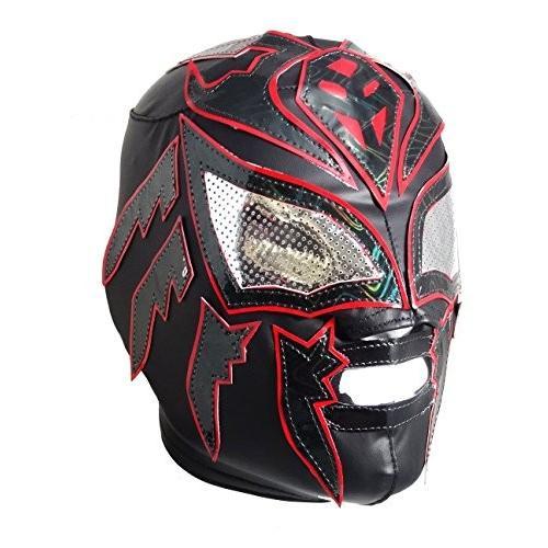 SOMBRA Lycra PRO Adult Lucha Libre Wrestling Mask (pro-LYCRA) 黒/Re