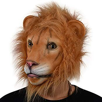 PARTY STORY Lion Mask Latex Head Mask Rubber Animal Mask Novelty Costu