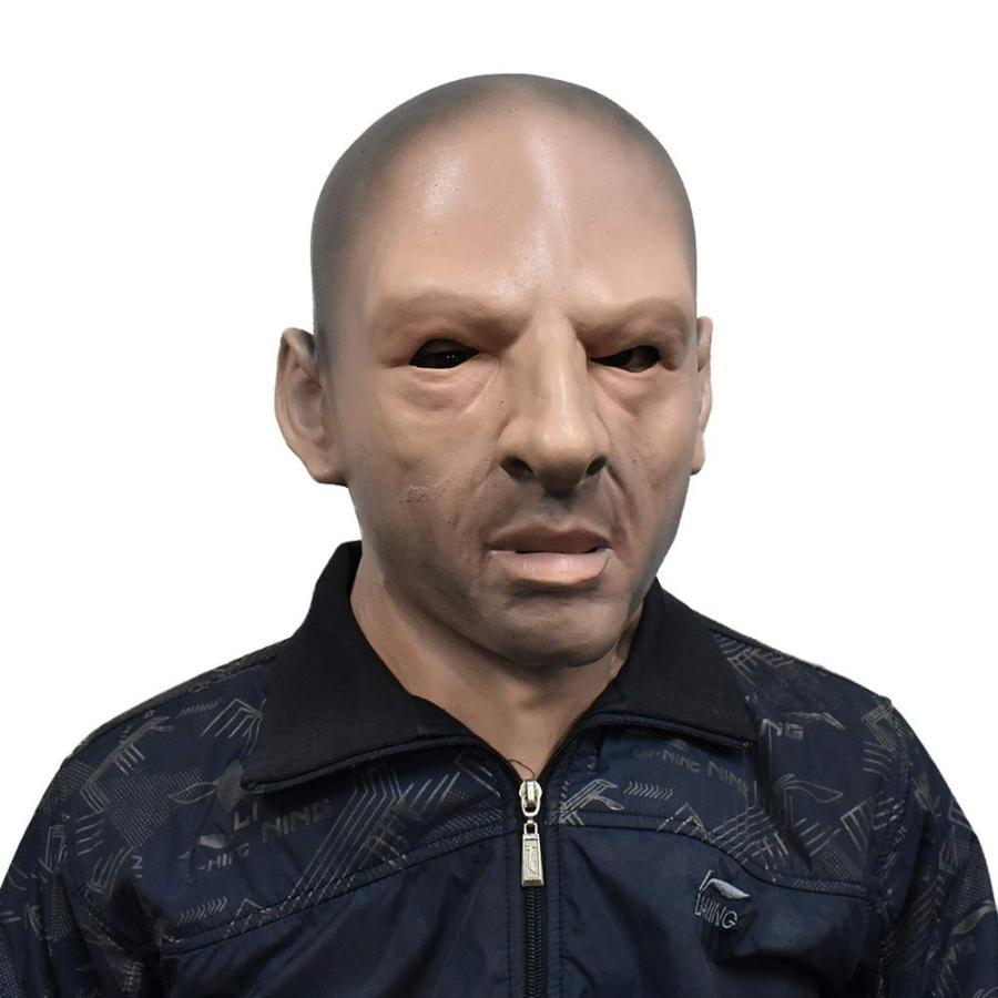 Realistic Bald Man Mask Grim Male Human Face Fancy Dress for Halloween