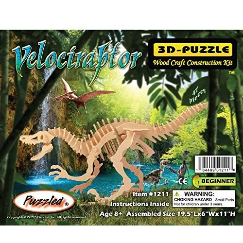 Puzzled 1211 Velociraptor Dinosaur 3D Woodcraft Construction Kit