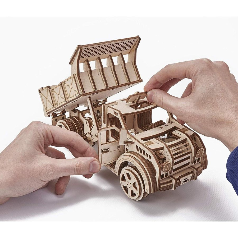 Wood Trick American Jeep Truck Model Kit with Functional Moving Body -