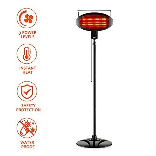 Electric Outdoor Heater, Vertical Halogen Patio Heater with Pull Line