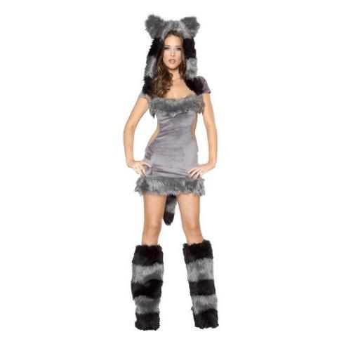 Roma Costume 1 Piece Naughty Raccoon Costume, 黒/グレー, Medium