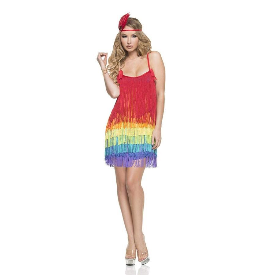 Mystery House Women's Rainbow Flapper, 赤/黄/青/紫の, Large