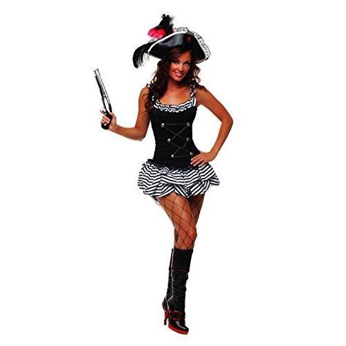Starline Women's Fiery Pirate Sexy Corset Costume Dress Set, 黒, Sm