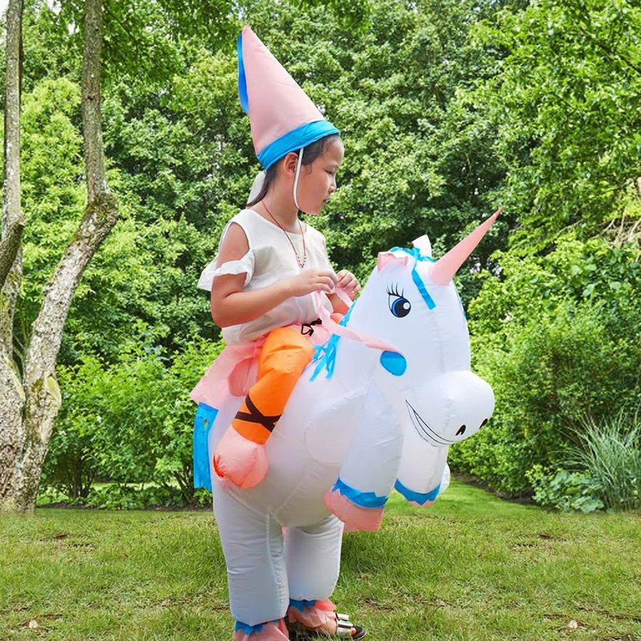 Inflatable Unicorn Rider Costume for Adults & Kids, Holiday Blow Up Fa