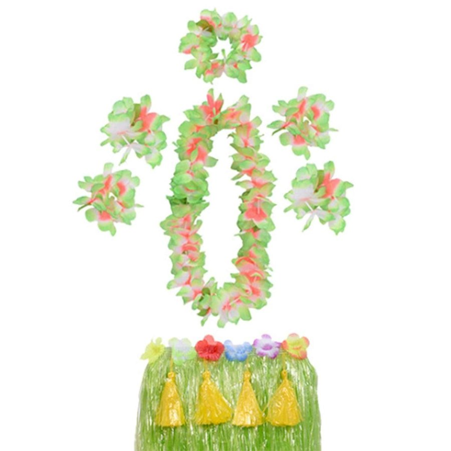 Yesier Hawaii Hula Grass Skirt with Flower Leis Costume Set Adult Part