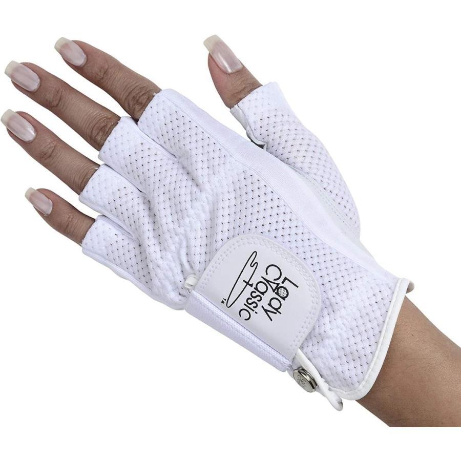 Lady Classic Cabretta 1/2 Finger Golf Glove 白い Medium LH