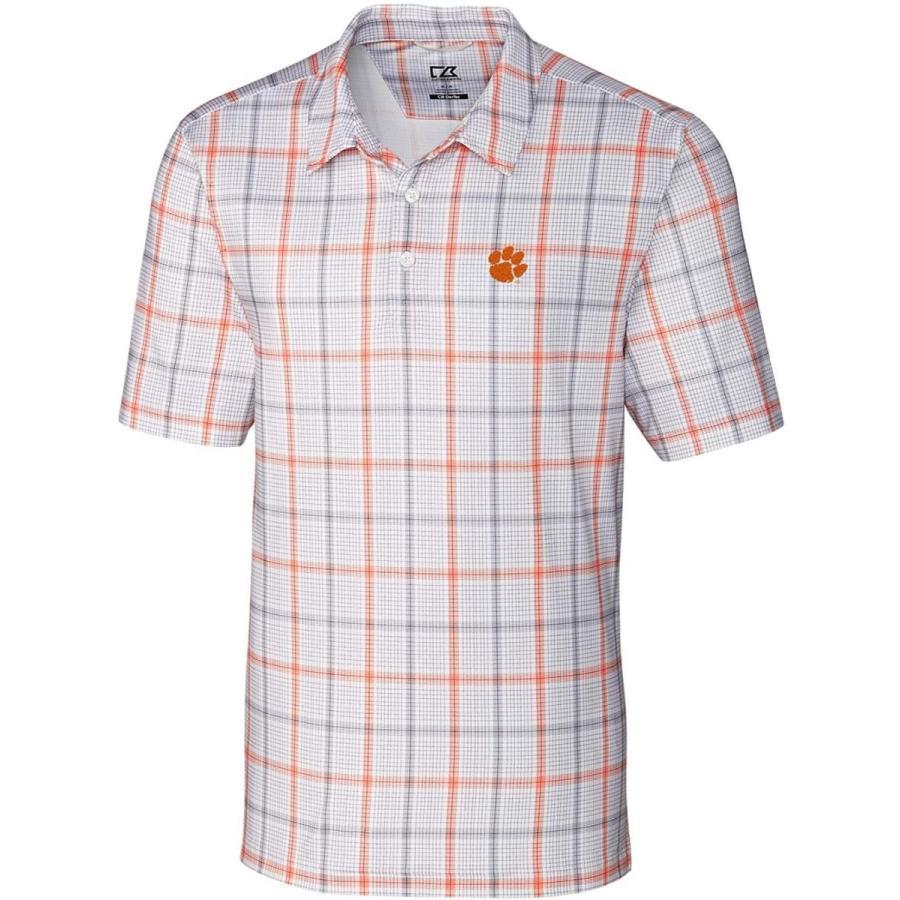 NCAA Clemson Tigers Short Sleeve Gordon Plaid Print Polo, Medium, Coll