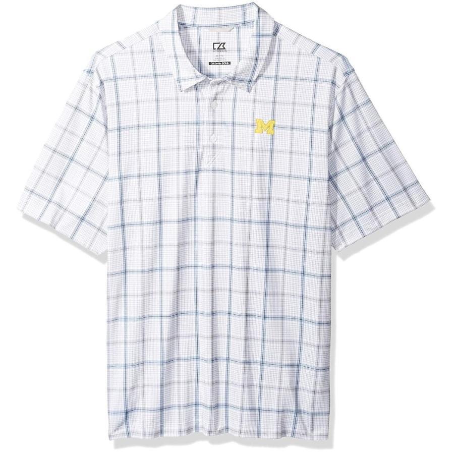 Cutter NCAA Michigan Wolverines Short Sleeve Gordon Plaid Print Polo,