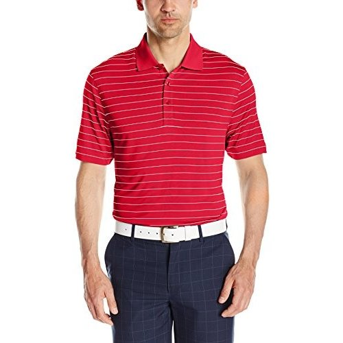 Cutter & Buck Men's Drytec Franklin Stripe Polo, Cardinal 赤/白い, L