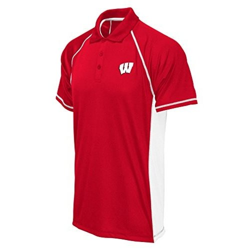 Old Varsity Brand NCAA Wisconsin Badgers Poly Polo with Panels, 赤/Wh