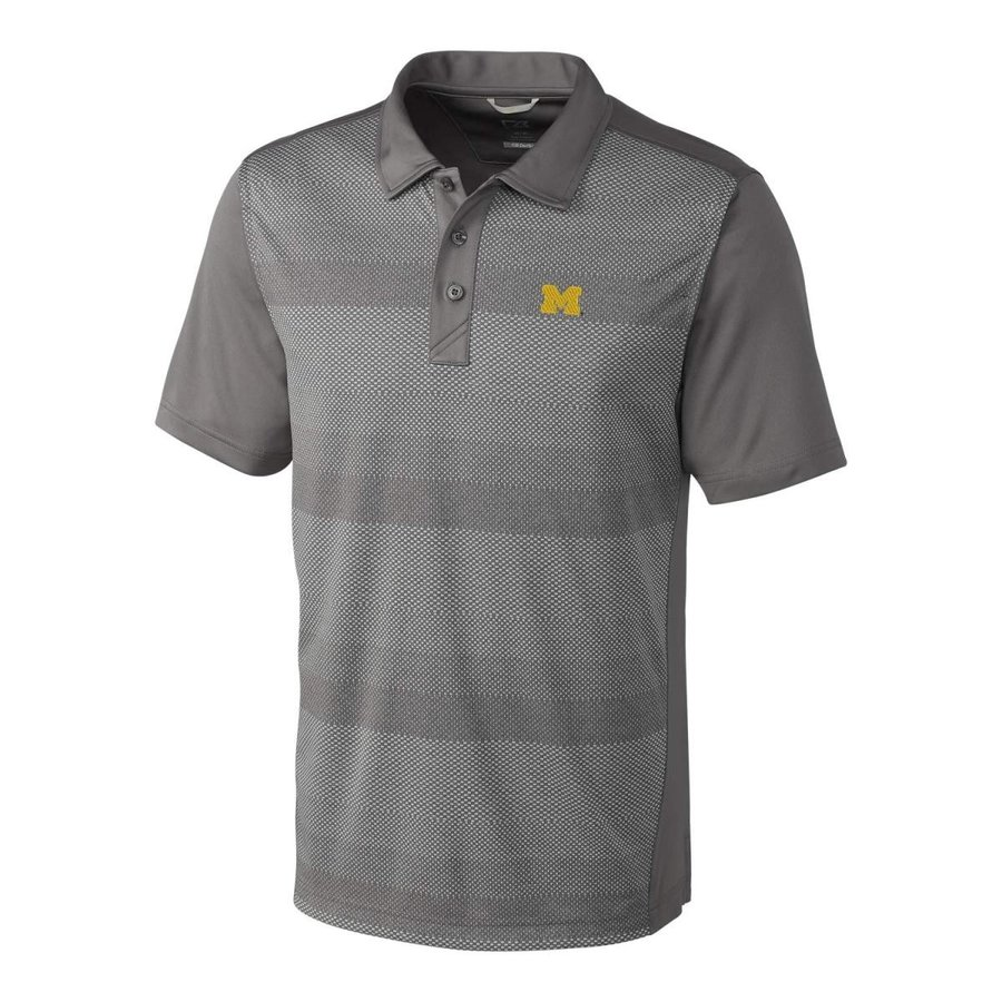 NCAA Michigan Wolverines Short Sleeve Crescent Print Polo, 3X-Large, E