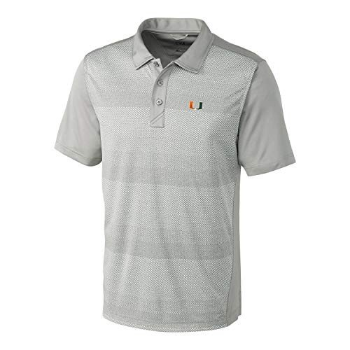 Cutter & Buck NCAA Miami Hurricanes Short Sleeve Crescent Print Polo,