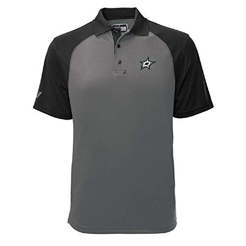 Levelwear NHL Dallas Stars Mens Strike Insignia Polo, Pebble/黒, Sm
