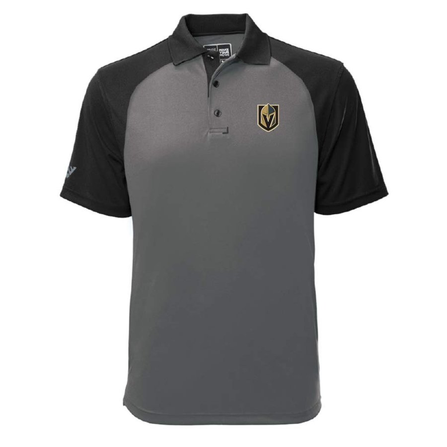 Levelwear NHL Vegas ゴールドen Knights Mens Strike Insignia Polo, Pebble/B