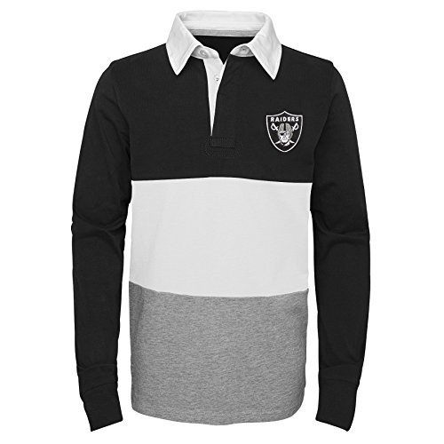 NFL Oakland Raiders Youth Boys State of Mind Long Sleeve Rugby Top Bla