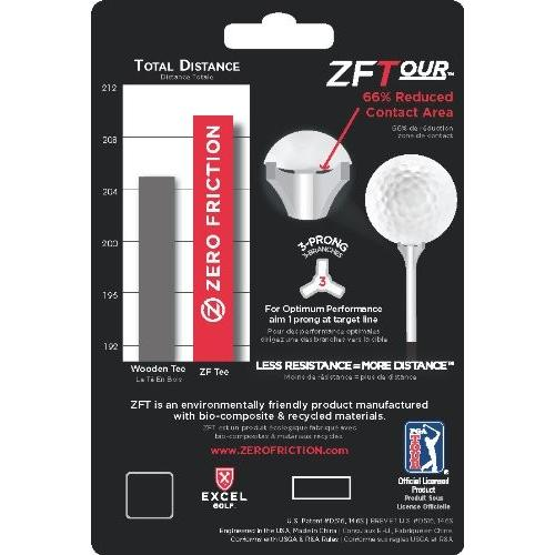 Zero Friction Tour 3-Prong Golf Tees (2-3/4 Inch, 青, Pack of 40)