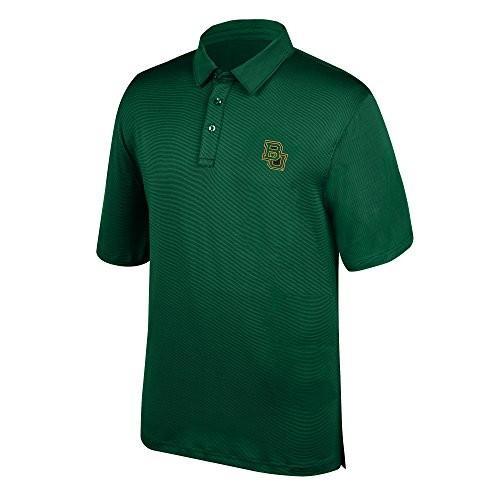 J America NCAA Men's Baylor Bears Yarn Dye Striped Team Polo Shirt, XX