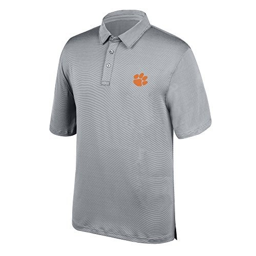 J America NCAA Men's Clemson Tigers Yarn Dye Striped Team Polo Shirt,
