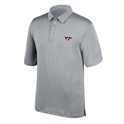 J America NCAA Men's Virginia Tech Hokies Yarn Dye Striped Team Polo S