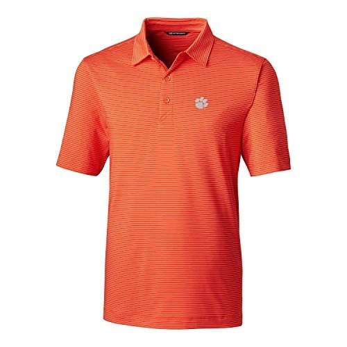 NCAA Clemson Tigers Men's Short Sleeve Pencil Stripe Forge Polo, Colle