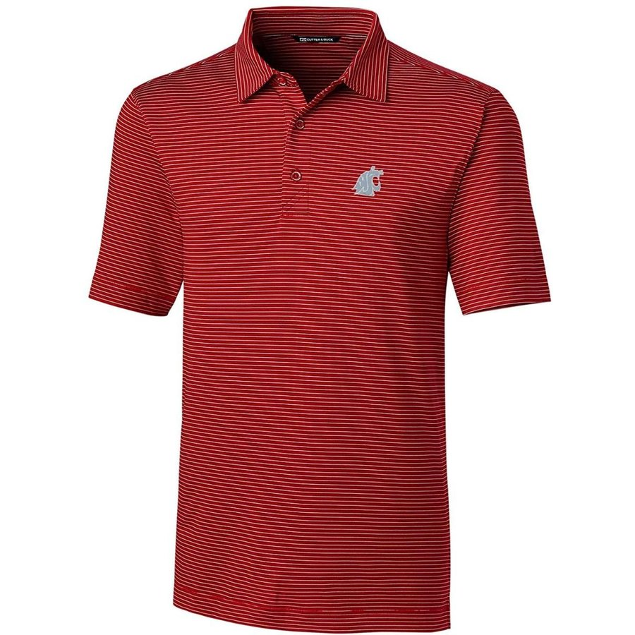 NCAA Washington State Cougars Men's Short Sleeve Pencil Stripe Forge P
