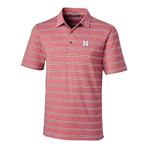 Cutter & Buck NCAA Nebraska Cornhuskers Mens Short Sleeve Heather Stri