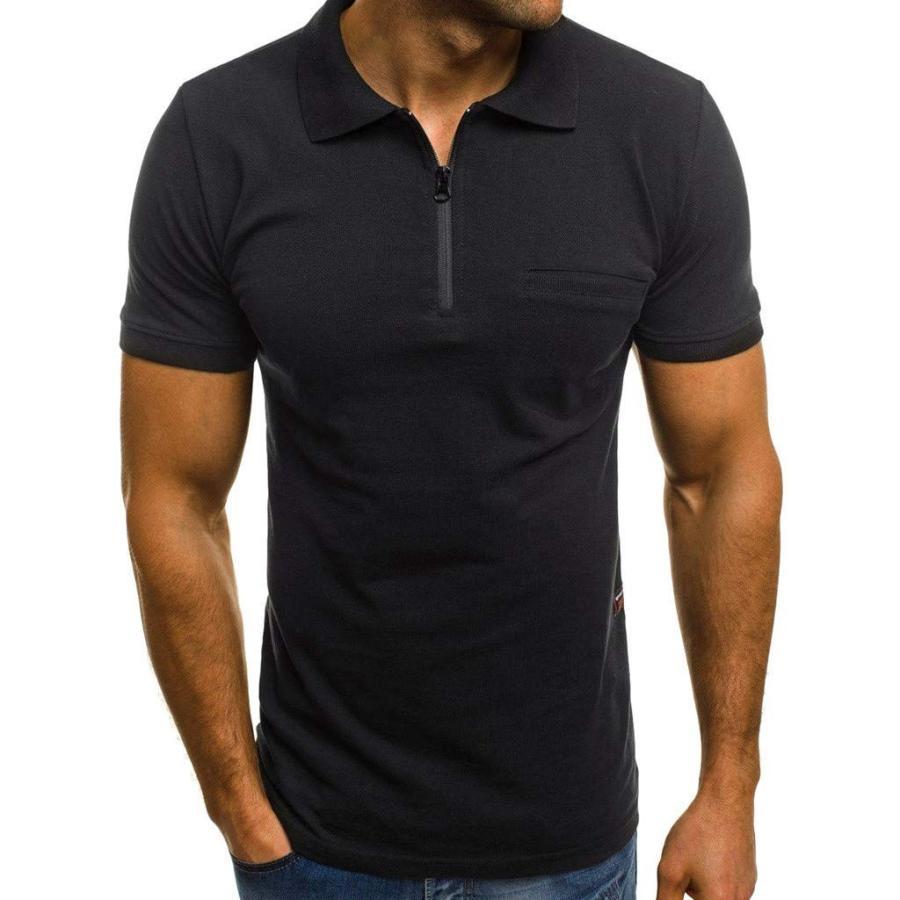 KASAAS Polo Shirts for Men Solid Zipper V-Neck Tops Short Sleeve Pocke