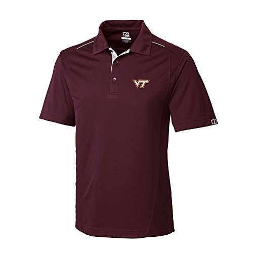 NCAA Men's CB Dry Tec Foss Hybrid Polo,Virginia Tech Hokies,Bordeaux,M