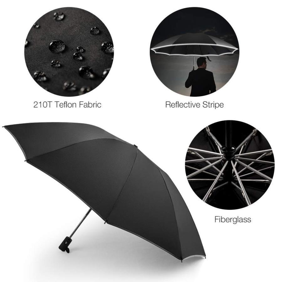 QUEES Inverted Umbrella Windproof Umbrella 10 Ribs Reverse Umbrella wi