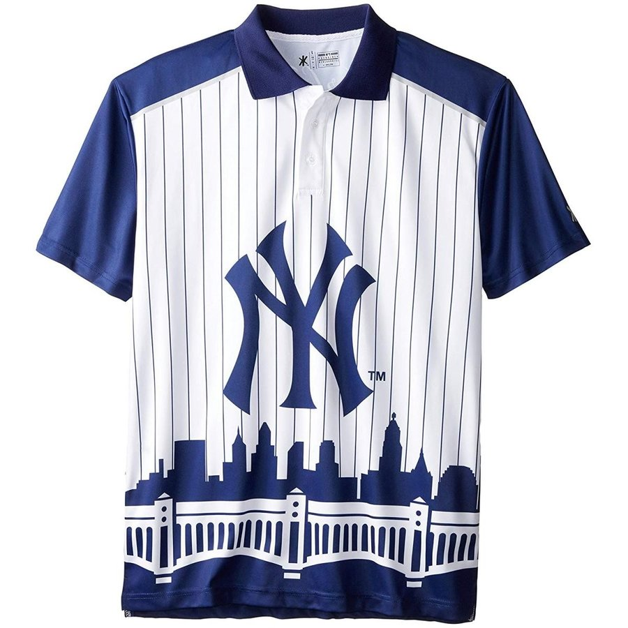New York Yankees Polyester Short Sleeve Thematic Polo Shirt Double Ext