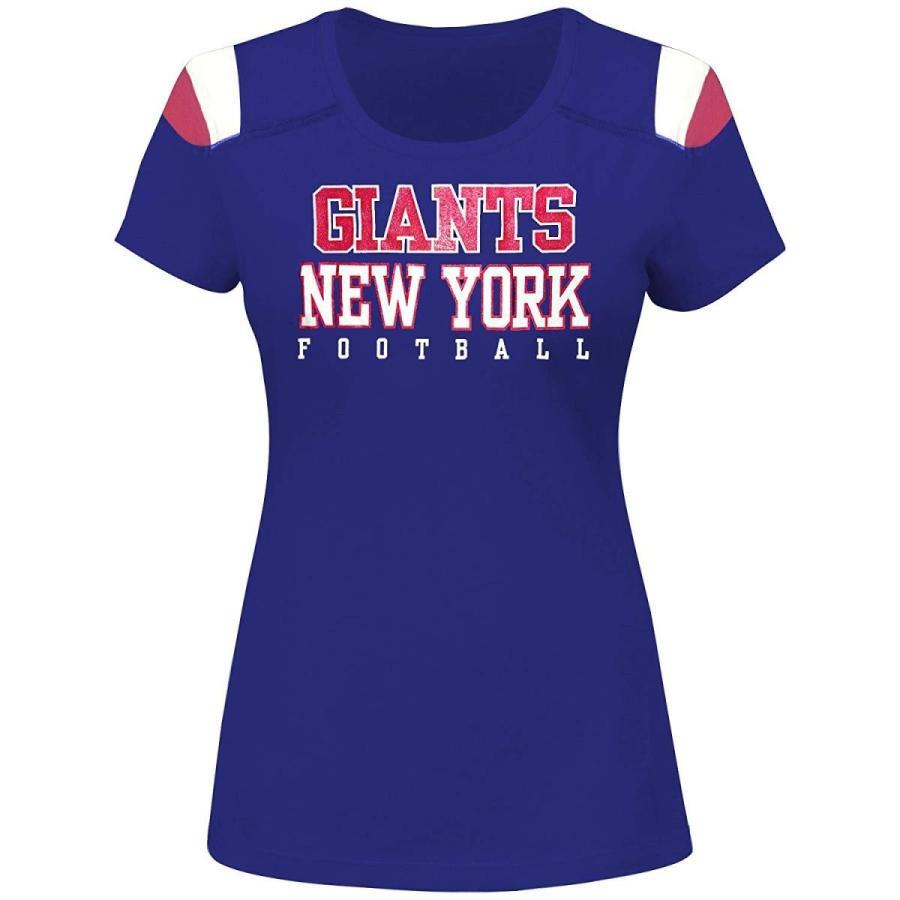 NFL New York Giants Women S/S SCOOP NECK PANEL SHOULDER , ROYAL/赤, 2