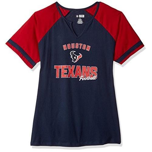 NFL Houston Texans Women S/S NOTCH V NECK TEE, NAVY/CARDINAL, 2X