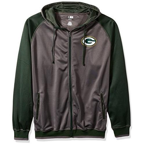 NFL 緑 Bay Packers Men FULL ZIP POLY FLEECE RAGLA, CHAR/DK 緑, 3