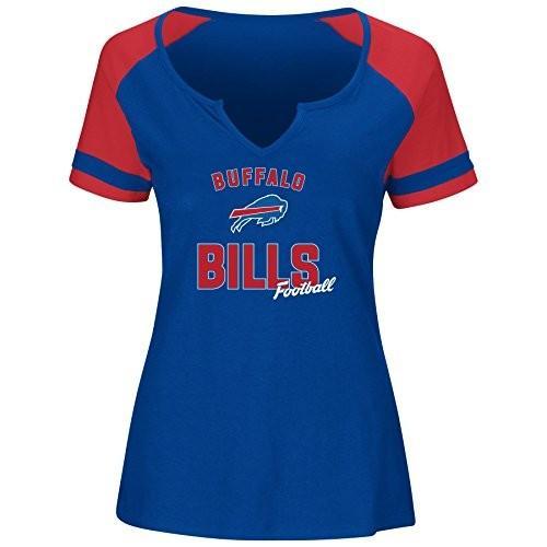 NFL Buffalo Bills Women S/S NOTCH V NECK TEE, ROYAL/赤, 1X