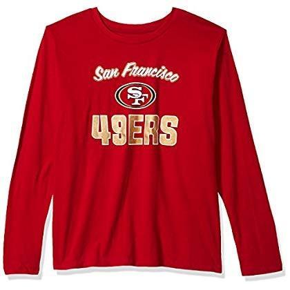 NFL San Francisco 49ers Women L/S SCOOP NECK TEE, 赤, 3X