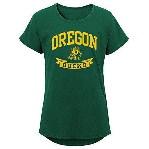 NCAA Oregon Ducks Girls Outerstuff Short Sleeve Dolman Tee, Team color