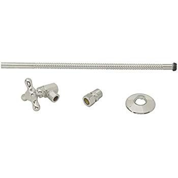 Westbrass D1712T-07 Toilet Kit with Stop and Corrugated Riser with Cro
