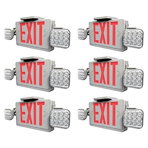 Ciata Lighting LED 赤 Exit Sign & Emergency Light Combo with Battery