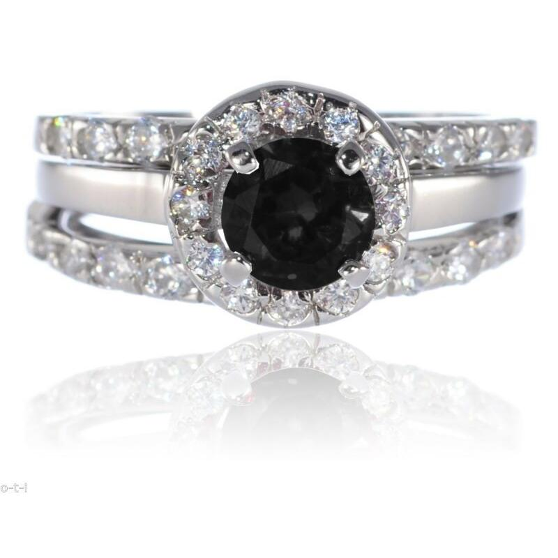 カウくる エンゲージ メモリアル ペアリングシルバー 指輪 White Gold Sterling Silver Round Black Onyx Engagement Wedding CZ Three Ring Set, BEAM ANTENNA 3023e6a5