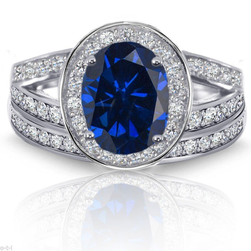 高級品市場 エンゲージ メモリアル ペアリングシルバー 指輪 Blue Sapphire Oval Halo Simulated Diamonds Sterling Silver Engagement Ring Set, シェシェア【xiexiea】 ffba5f21