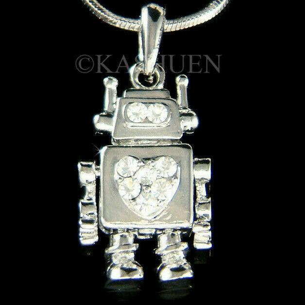 品揃え豊富で ネックレス インポート スワロフスキ クリスタル ジュエリー Robot Heart made with Swarovski Crystal Movable Robotic STEM Boys Girls Necklace, キッチン&生活雑貨のQOLショップ e46dd656