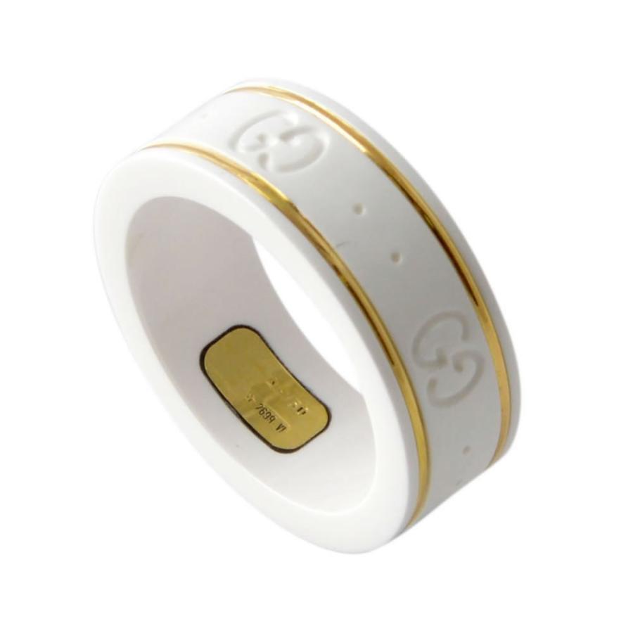 【特価】 グッチ GUCCI 325964-J85V5-8062 10号 GGパターン エングレービング ホワイトジルコニア/18KYG リング 指輪, i-cot 2b44346e