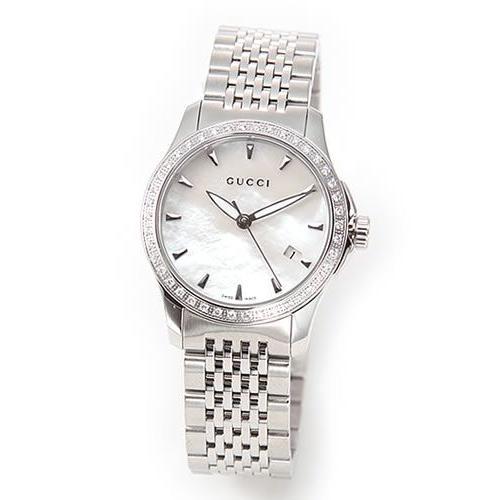本物の 【送料無料】グッチ レディス 腕時計 クラシック・コレクション ラグジュアリーなダイヤ・ベゼル シェル文字盤の輝き YA126506, ライコウ bbbfc09f