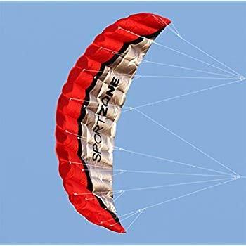 Kosei 凧 デュアルライン パラシュート スタントカイト ハンドル 30mライン付き (レッド)