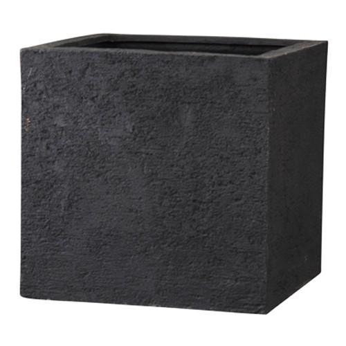 おしゃれ 樹脂製 軽量 大型 植木鉢 ポリストーンライト 外寸□60cm リガンデ キューブ ブラック