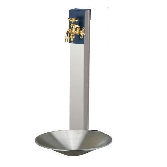 送料無料 立水栓リーナアロン650ツイン蛇口1個付きステンレス製パンセット